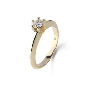 LOVELIEST SOLITAIRE 14K GULDRING  0,09 CT. DIAMANT
