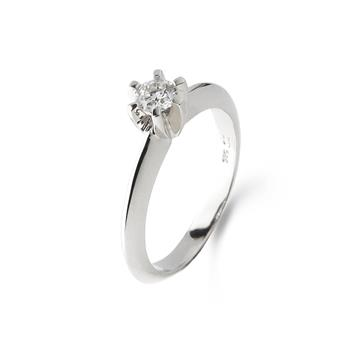 LOVELIEST SOLITAIRE RING HVIDGULD 0,09 CT. DIAMANT